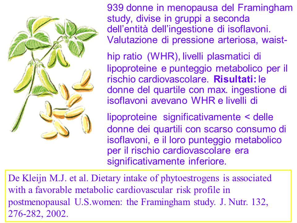 939 donne in menopausa del Framingham study, divise in gruppi a seconda dell'entità dell'ingestione di isoflavoni. Valutazione di pressione arteriosa, waist-hip ratio (WHR), livelli plasmatici di lipoproteine e punteggio metabolico per il rischio cardiovascolare. Risultati: le donne del quartile con max. ingestione di isoflavoni avevano WHR e livelli di lipoproteine significativamente < delle donne dei quartili con scarso consumo di isoflavoni, e il loro punteggio metabolico per il rischio cardiovascolare era significativamente inferiore.