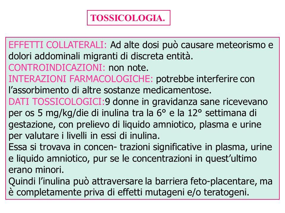 TOSSICOLOGIA. EFFETTI COLLATERALI: Ad alte dosi può causare meteorismo e dolori addominali migranti di discreta entità.
