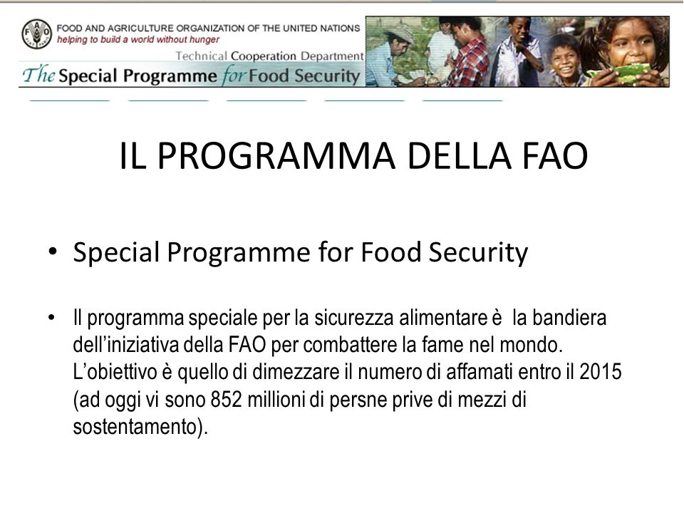 IL PROGRAMMA DELLA FAO Special Programme for Food Security