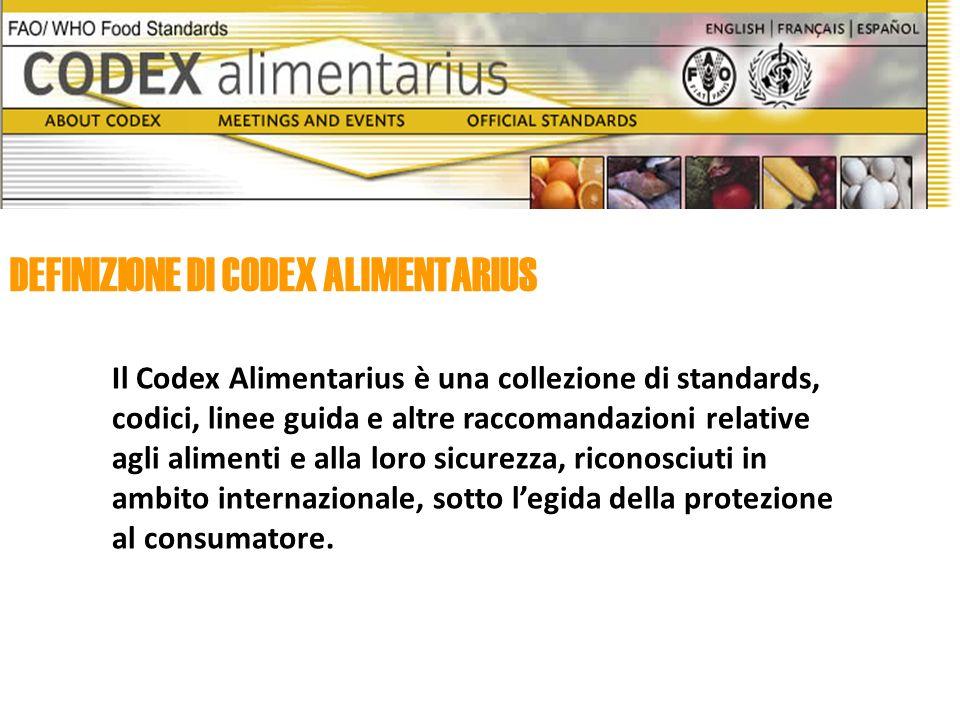 DEFINIZIONE DI CODEX ALIMENTARIUS