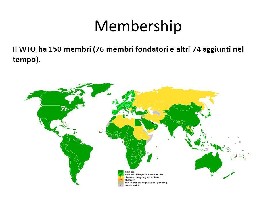 Membership Il WTO ha 150 membri (76 membri fondatori e altri 74 aggiunti nel tempo).