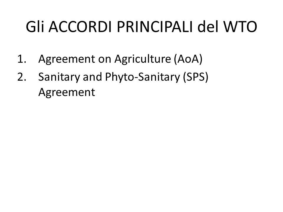 Gli ACCORDI PRINCIPALI del WTO