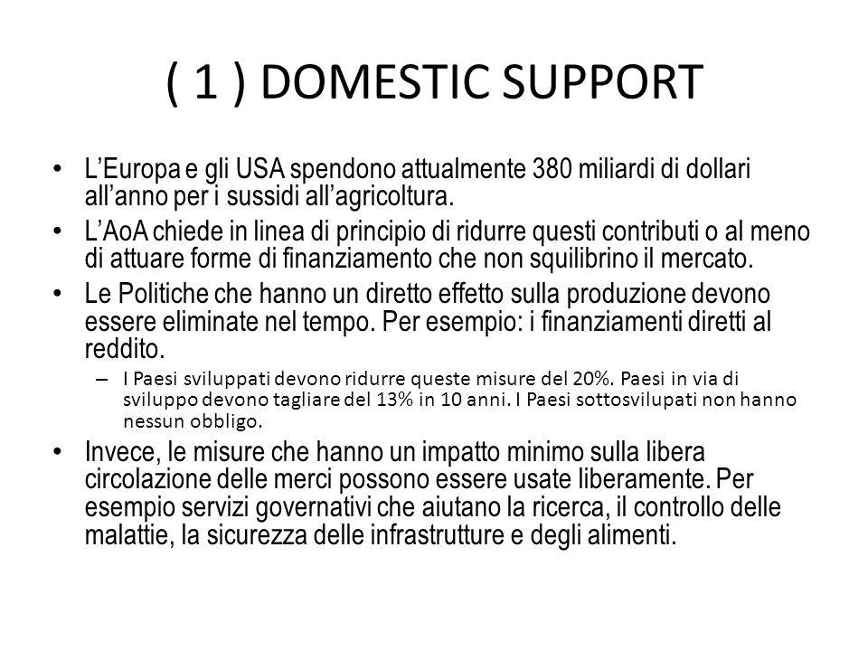 ( 1 ) DOMESTIC SUPPORT L'Europa e gli USA spendono attualmente 380 miliardi di dollari all'anno per i sussidi all'agricoltura.