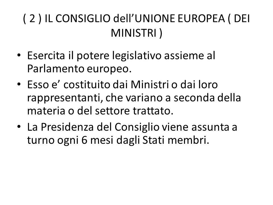 ( 2 ) IL CONSIGLIO dell'UNIONE EUROPEA ( DEI MINISTRI )