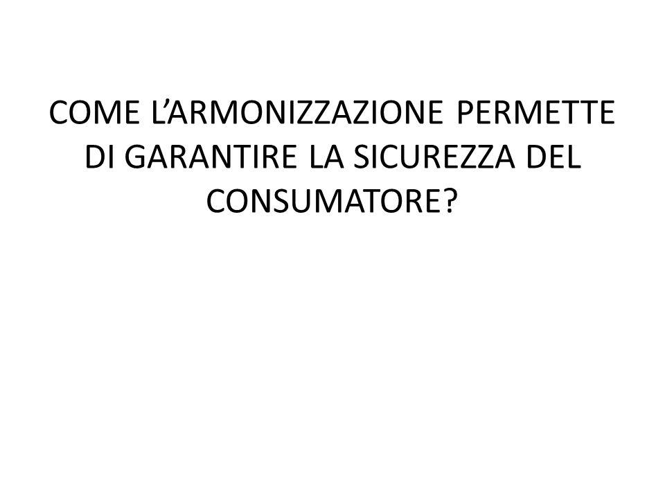 COME L'ARMONIZZAZIONE PERMETTE DI GARANTIRE LA SICUREZZA DEL CONSUMATORE