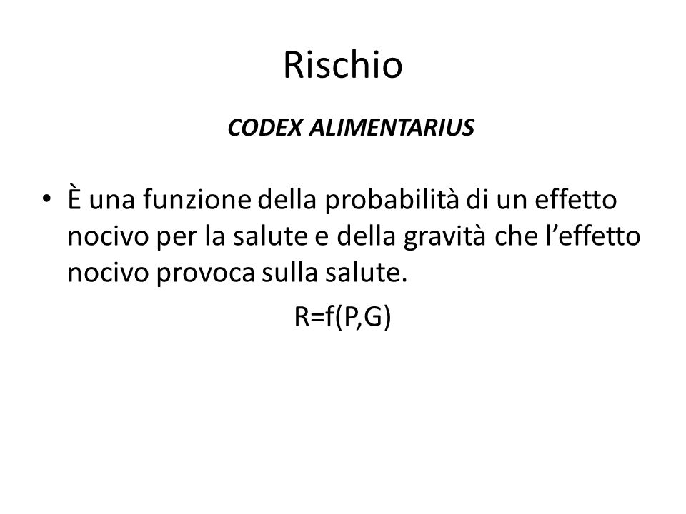Rischio CODEX ALIMENTARIUS.