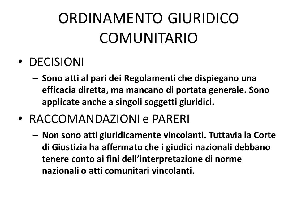 ORDINAMENTO GIURIDICO COMUNITARIO
