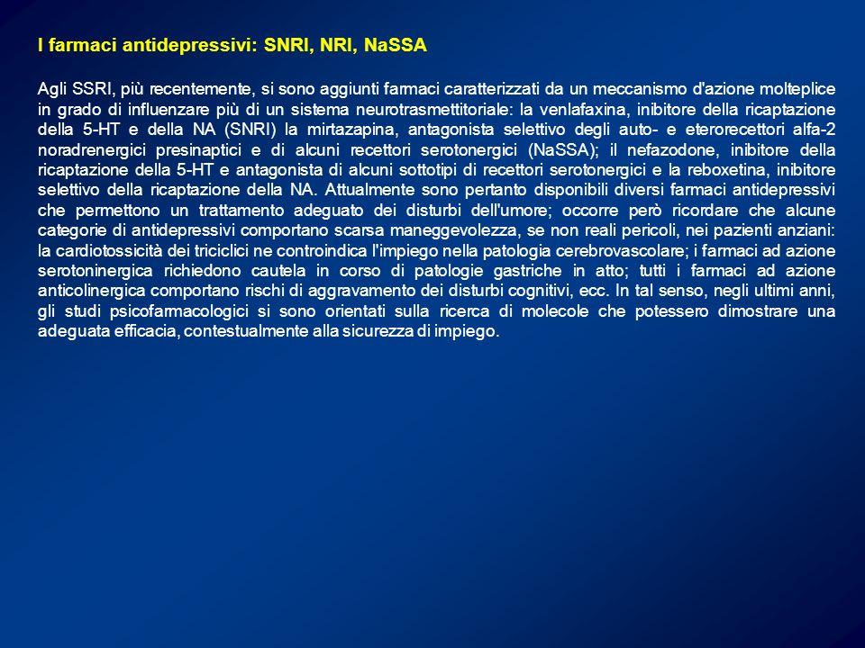 I farmaci antidepressivi: SNRI, NRI, NaSSA
