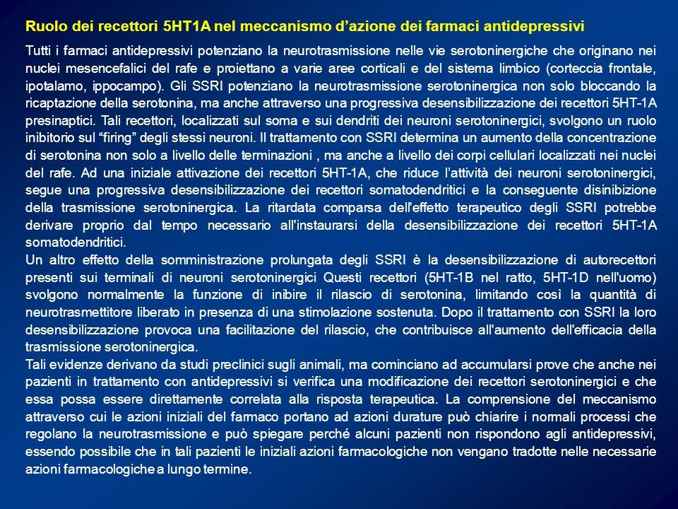 Ruolo dei recettori 5HT1A nel meccanismo d'azione dei farmaci antidepressivi