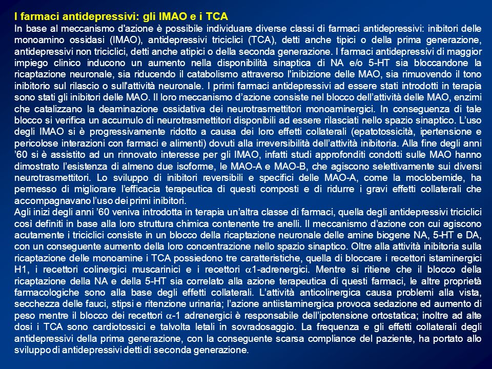I farmaci antidepressivi: gli IMAO e i TCA