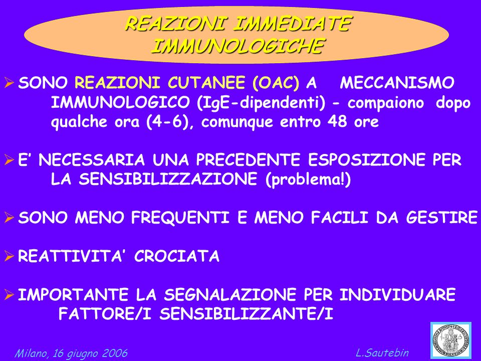 REAZIONI IMMEDIATE IMMUNOLOGICHE