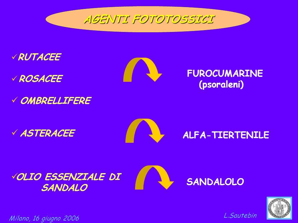 AGENTI FOTOTOSSICI FUROCUMARINE OMBRELLIFERE (psoraleni) ASTERACEE