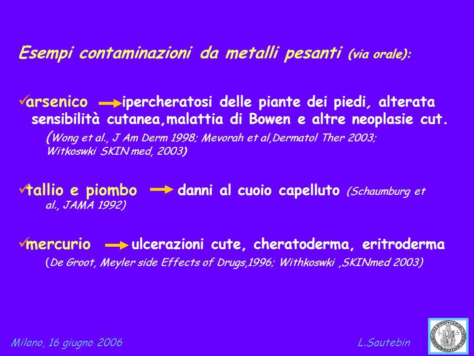 Esempi contaminazioni da metalli pesanti (via orale):