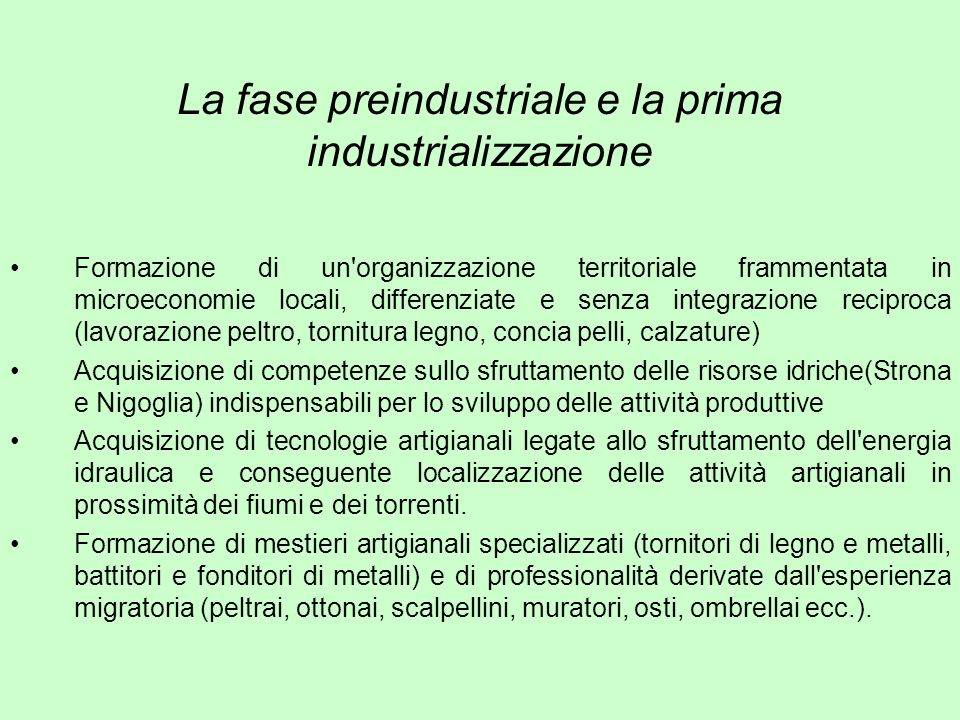 La fase preindustriale e la prima industrializzazione