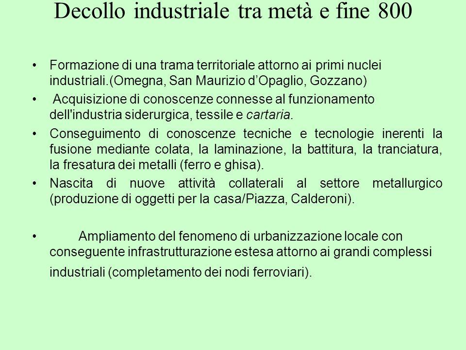 Decollo industriale tra metà e fine 800