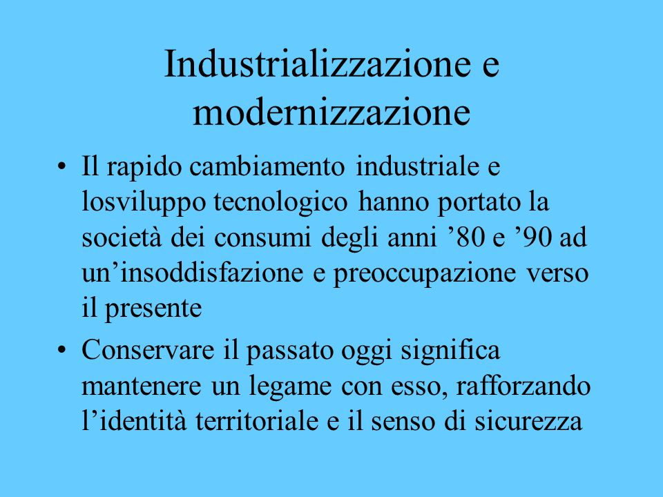 Industrializzazione e modernizzazione