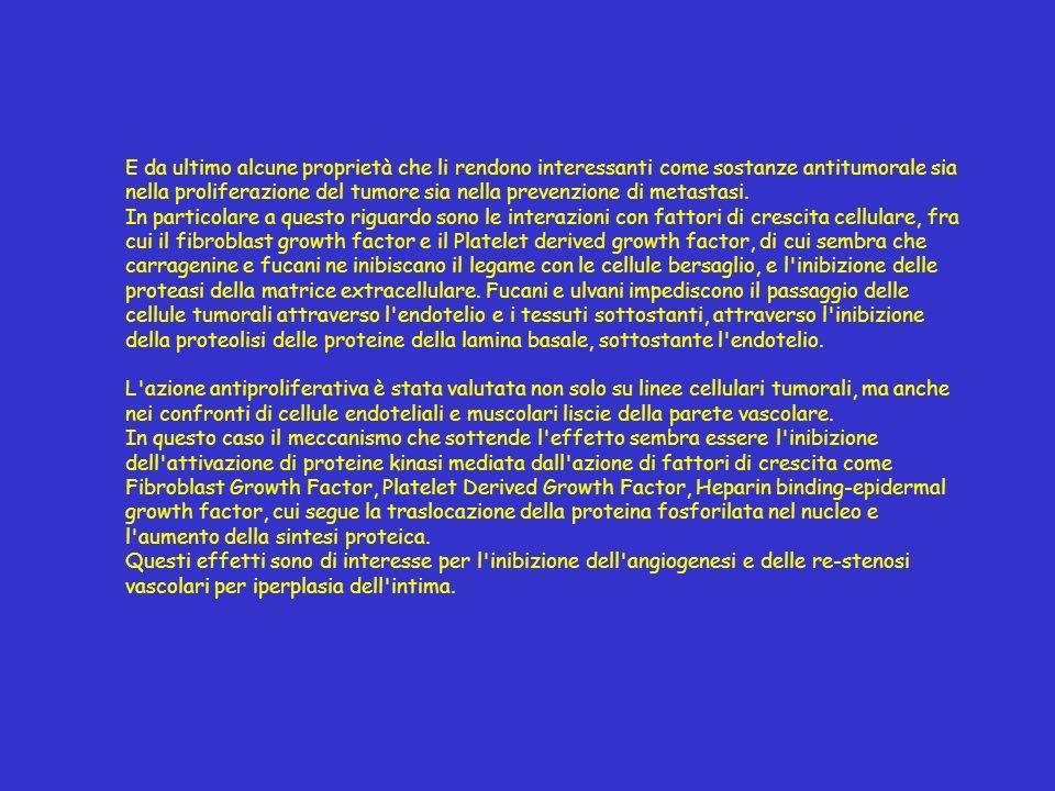 E da ultimo alcune proprietà che li rendono interessanti come sostanze antitumorale sia nella proliferazione del tumore sia nella prevenzione di metastasi.