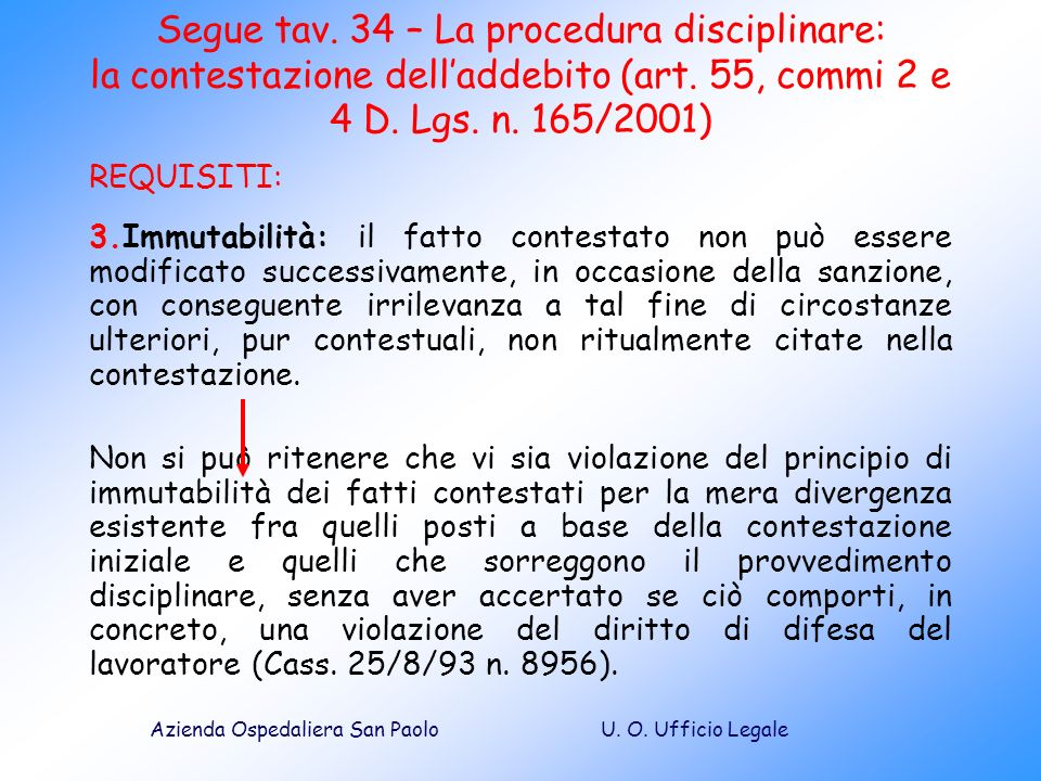 Segue tav. 34 – La procedura disciplinare: la contestazione dell'addebito (art. 55, commi 2 e 4 D. Lgs. n. 165/2001)