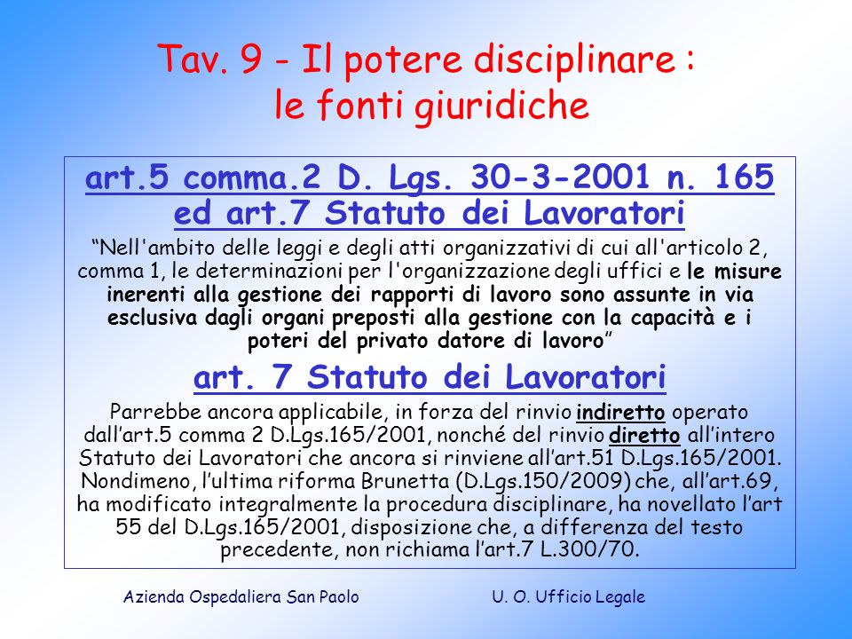 Tav. 9 - Il potere disciplinare : le fonti giuridiche