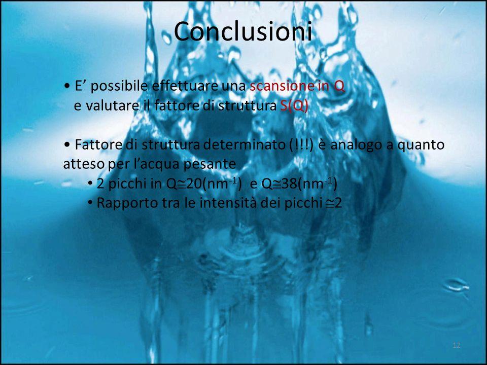 Conclusioni • E' possibile effettuare una scansione in Q e valutare il fattore di struttura S(Q)