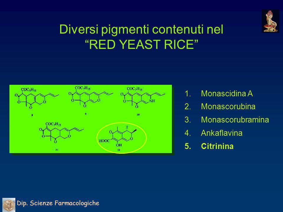 Diversi pigmenti contenuti nel RED YEAST RICE