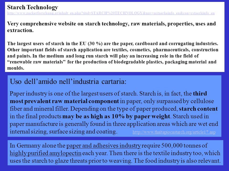 Uso dell'amido nell'industria cartaria: