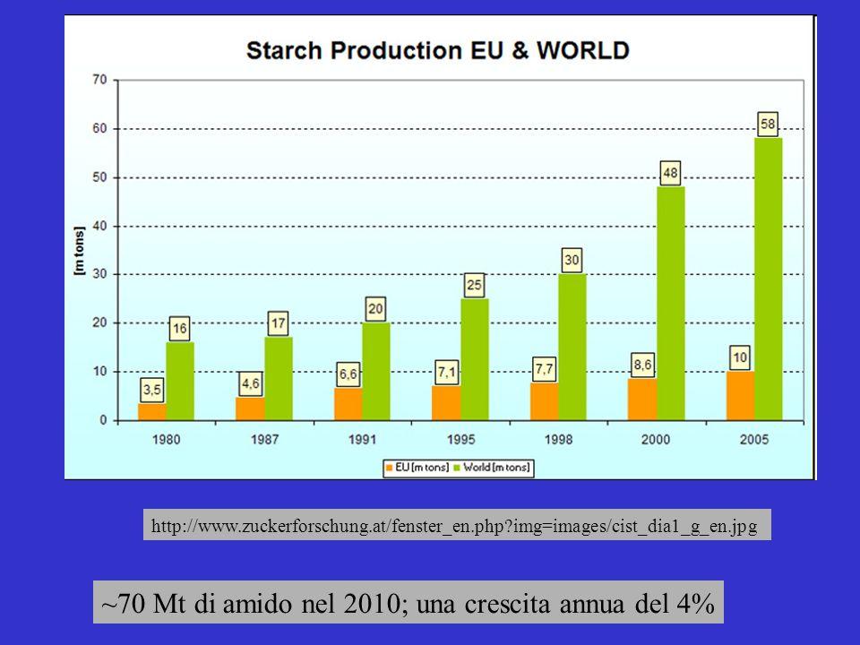 ~70 Mt di amido nel 2010; una crescita annua del 4%