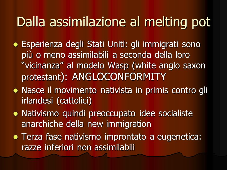 Dalla assimilazione al melting pot