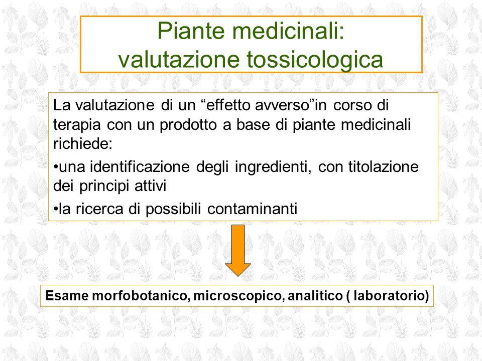 Piante medicinali: valutazione tossicologica