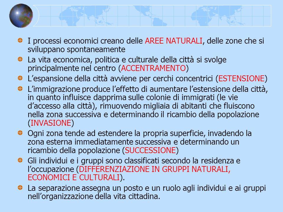 I processi economici creano delle AREE NATURALI, delle zone che si sviluppano spontaneamente