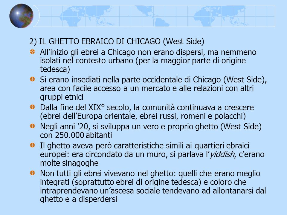 2) IL GHETTO EBRAICO DI CHICAGO (West Side)