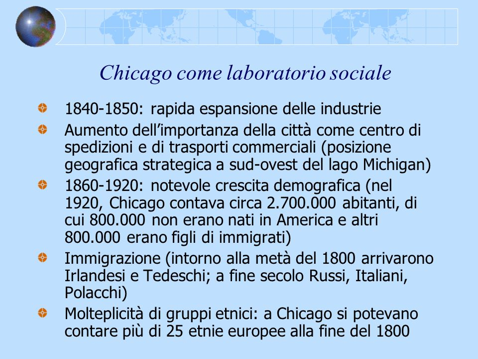 Chicago come laboratorio sociale