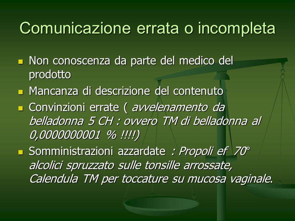 Comunicazione errata o incompleta
