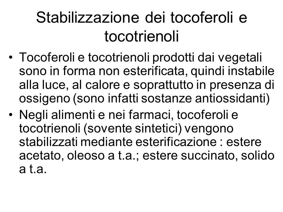 Stabilizzazione dei tocoferoli e tocotrienoli