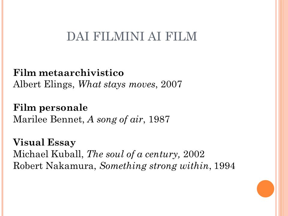 DAI FILMINI AI FILM Film metaarchivistico