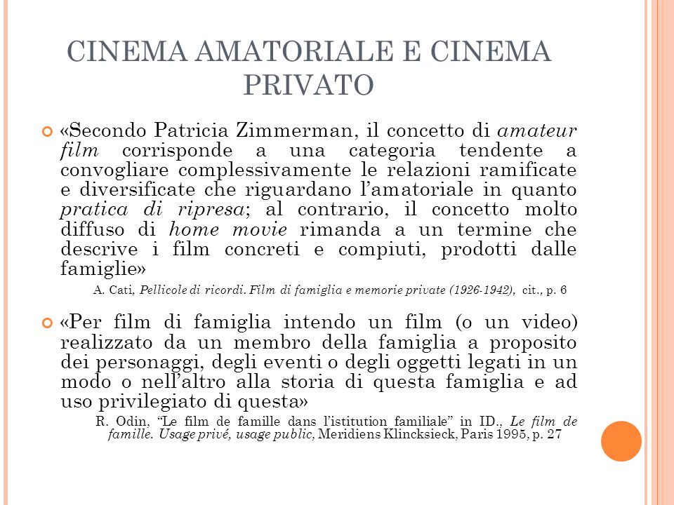 CINEMA AMATORIALE E CINEMA PRIVATO