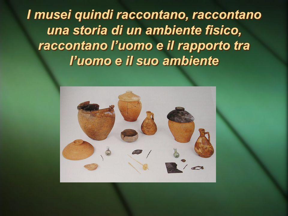 I musei quindi raccontano, raccontano una storia di un ambiente fisico, raccontano l'uomo e il rapporto tra l'uomo e il suo ambiente