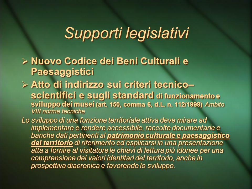 Supporti legislativi Nuovo Codice dei Beni Culturali e Paesaggistici
