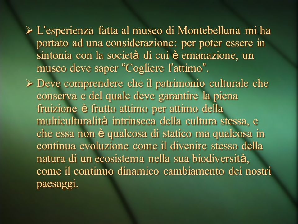 L'esperienza fatta al museo di Montebelluna mi ha portato ad una considerazione: per poter essere in sintonia con la società di cui è emanazione, un museo deve saper Cogliere l'attimo .
