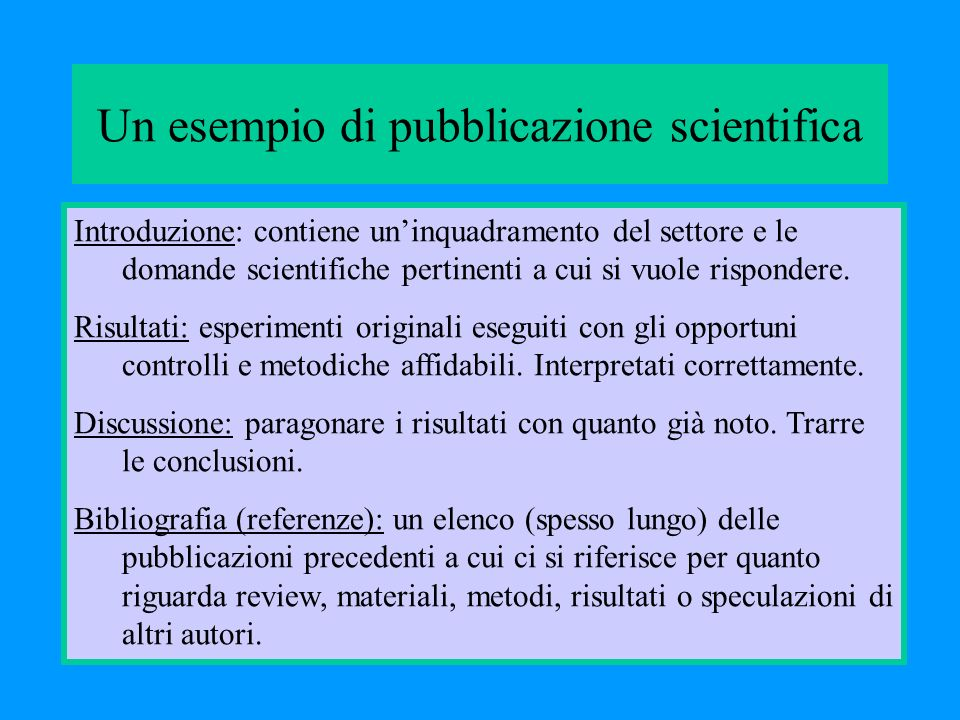 Un esempio di pubblicazione scientifica