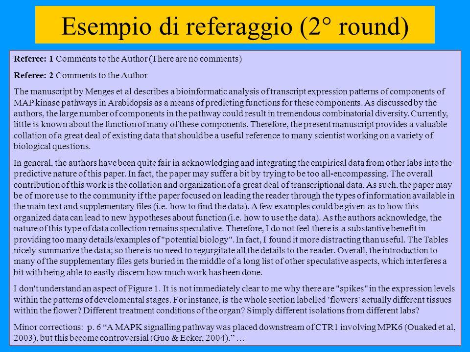 Esempio di referaggio (2° round)