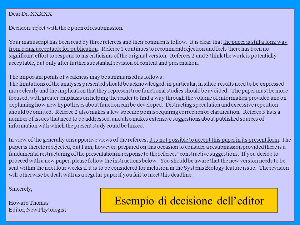 Esempio di decisione dell'editor