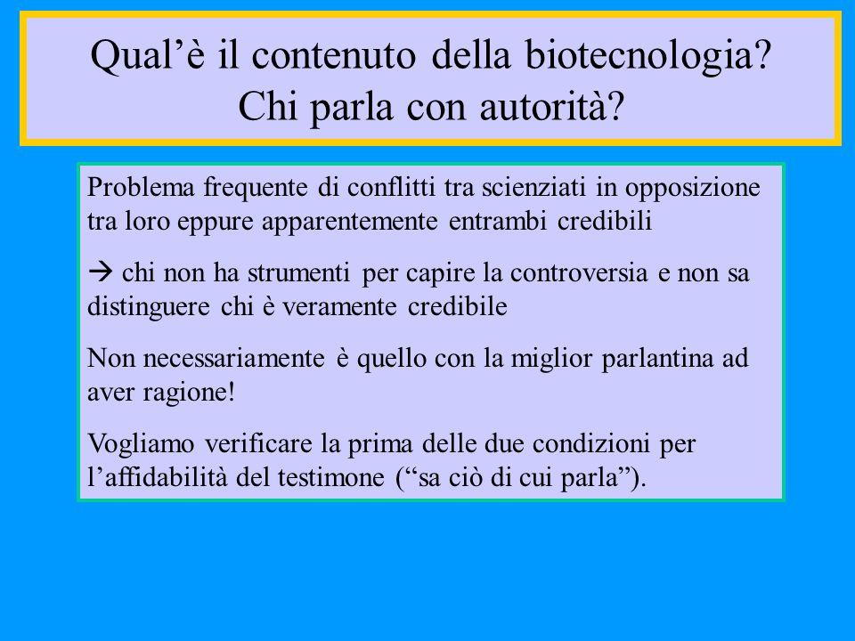 Qual'è il contenuto della biotecnologia Chi parla con autorità