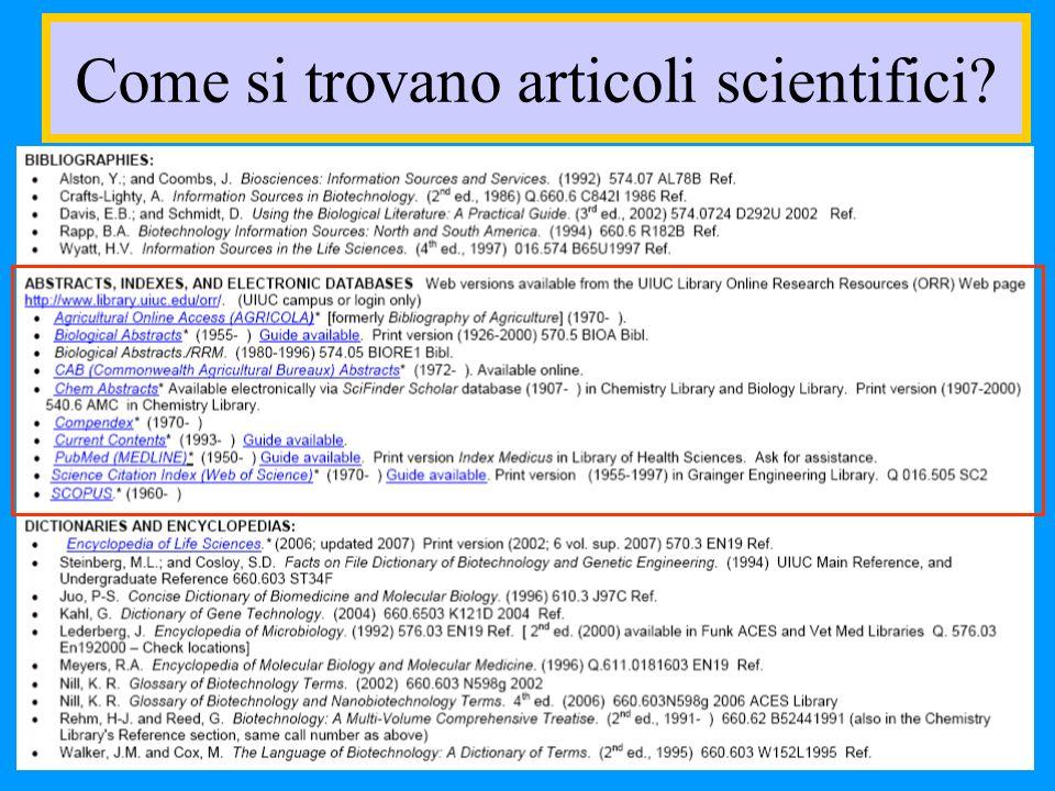 Come si trovano articoli scientifici
