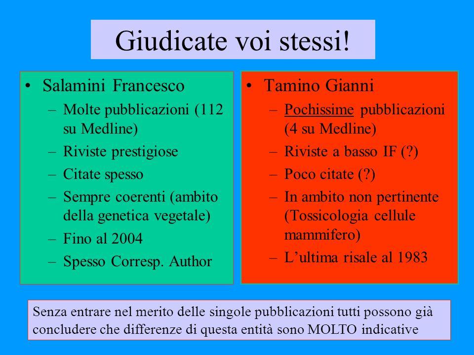 Giudicate voi stessi! Salamini Francesco Tamino Gianni