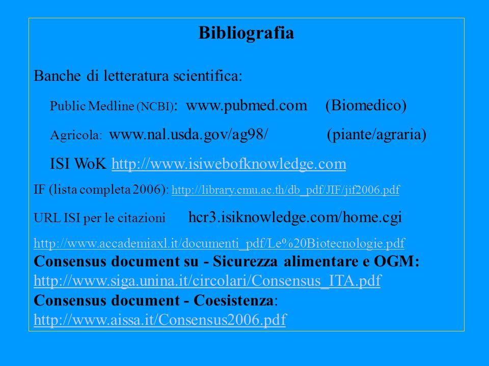 Bibliografia Banche di letteratura scientifica: