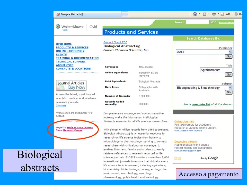 Biological abstracts Accesso a pagamento