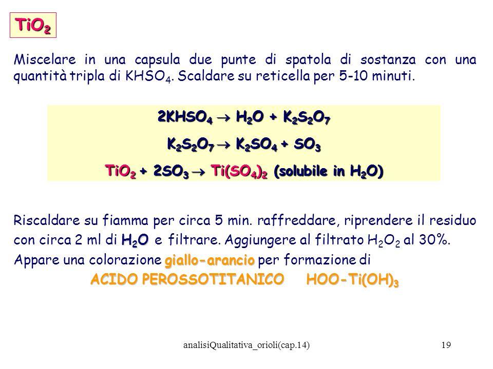 TiO2Miscelare in una capsula due punte di spatola di sostanza con una quantità tripla di KHSO4. Scaldare su reticella per 5-10 minuti.