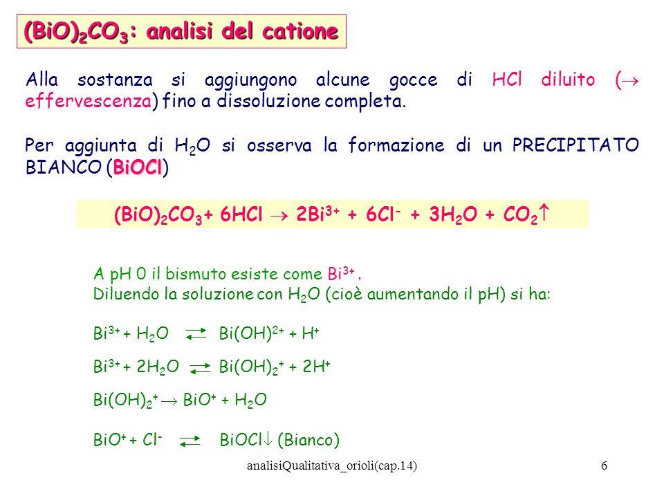 (BiO)2CO3+ 6HCl  2Bi3+ + 6Cl- + 3H2O + CO2