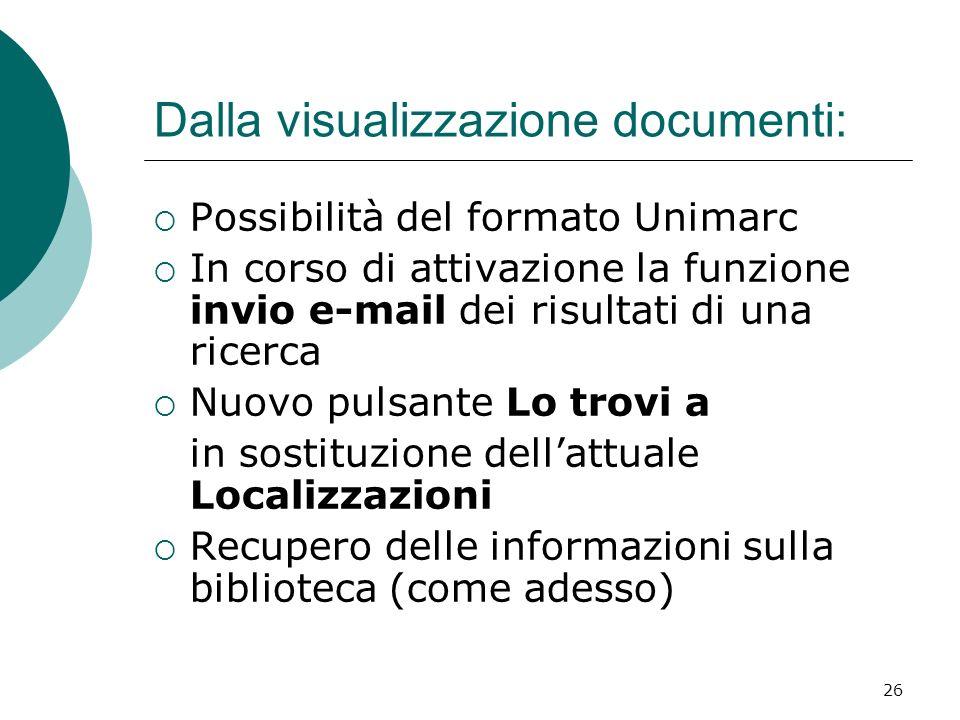 Dalla visualizzazione documenti: